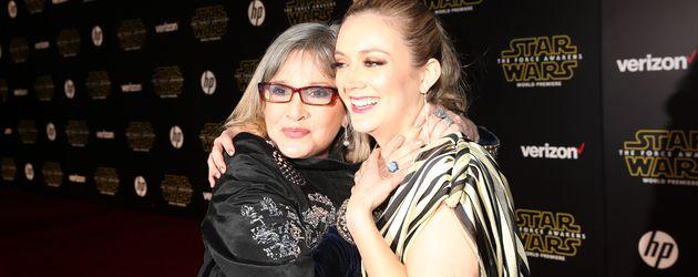 Carrie Fisher und Billie Lourd 2015 bei einer Filmpremiere in Hollywood