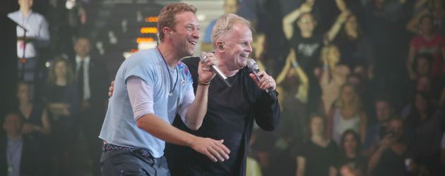 Chris Martin und Herbert Grönemeyer beim Global Citizen Festival in Hamburg