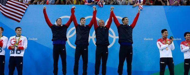 US-Goldstaffel: Townley Haas, Conor Dwyer, Ryan Lochte, Michael Phelps