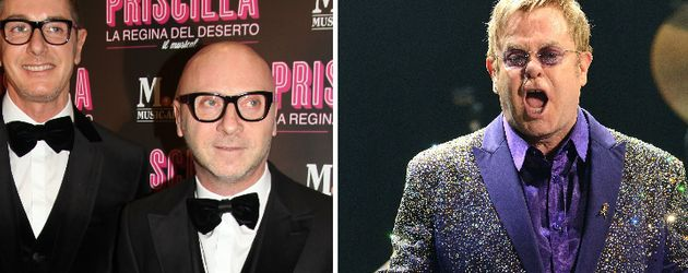 Elton John, Stefano Gabbana und Domenico Dolce