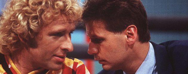 """Günther Jauch mit Thomas Gottschallk bei """"Wetten, dass..?!"""" 1994"""
