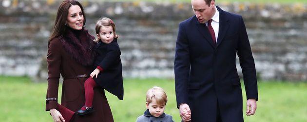 erzogin Kate, Prinzessin Charlotte, Prinz George und Prinz William