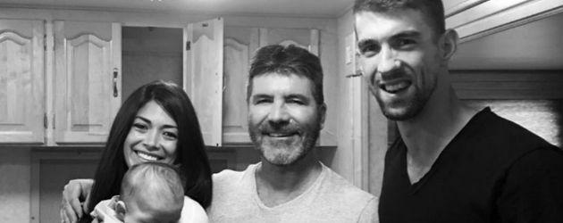 Nicole Johnson mit Boomer, Simon Cowell und Michael Phelps