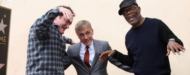Quentin Tarantino, Christoph Waltz und Samuel L. Jackson