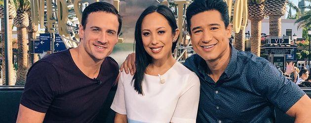 Ryan Lochte mit Cheryl Burke und Mario Lopez bei einem TV-Event