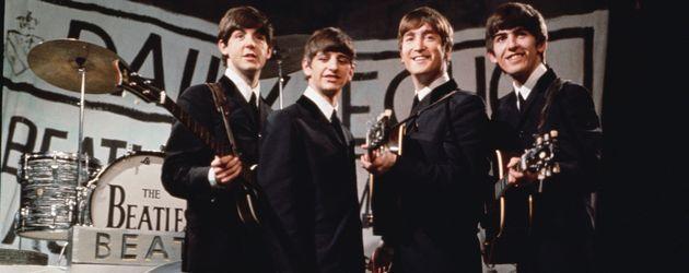 The Beatles bei einem Auftritt in Manchester 1963