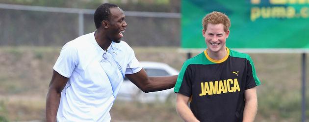Usain Bolt trainiert mit Prinz Harry